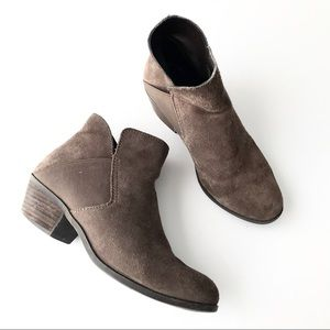 ME TOO Zoey Brown Suede Cutout Ankle Bootie